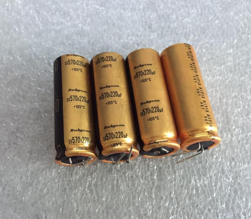 Original importado capacitor eletrônico rubi ouro 220 uf 570 v gall máquina de alta tensão filtro capacitor eletrolítico