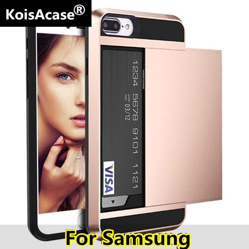 KoisAcase híbrido caso diapositiva titular de la tarjeta de armadura dura caso para Samsung S6 S7 borde S8 S9 S10 Plus Nota 9 8 5 4 3 J5 J7 Primer Caso