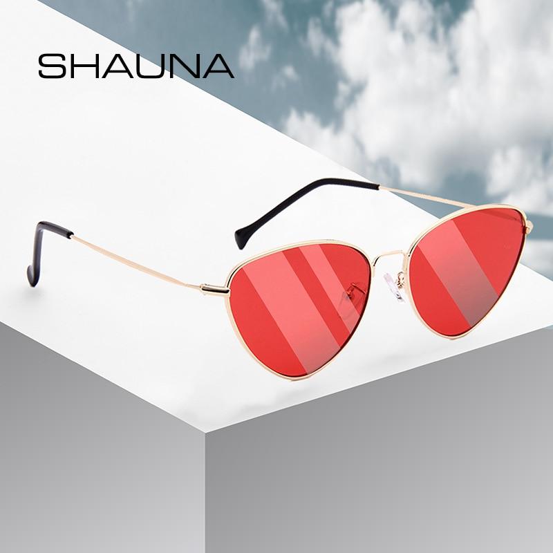 SHAUNA Updated Metal Hinge Retro Women Cat Eye Sunglasses Ultralight Summer Styles Men Red Tinted Shades UV400