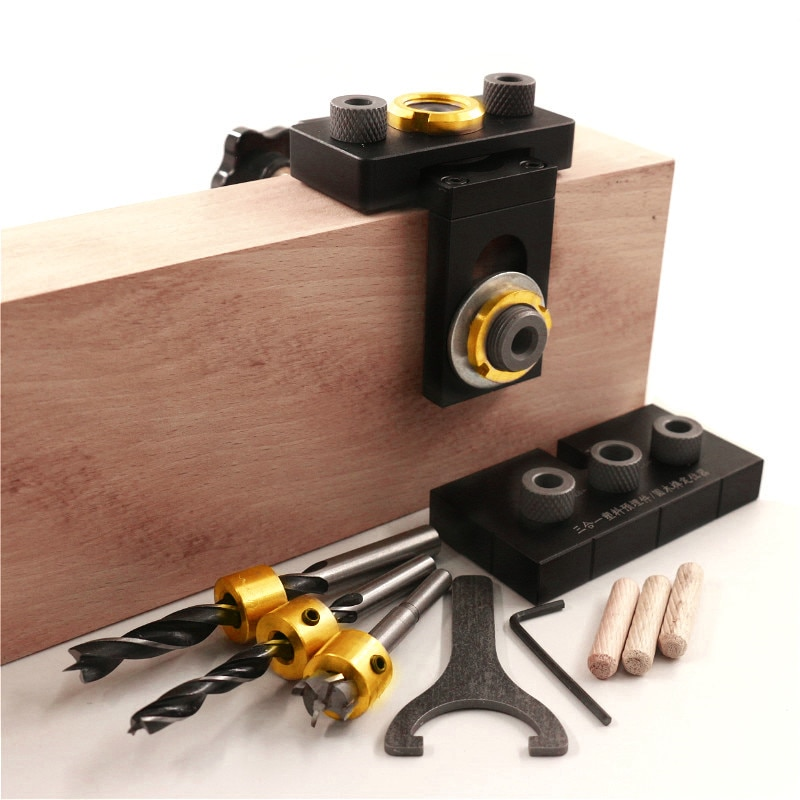 3 in 1 verstelbare deuvel jig houtbewerking pocket gat jig met 8 / - Boor - Foto 6