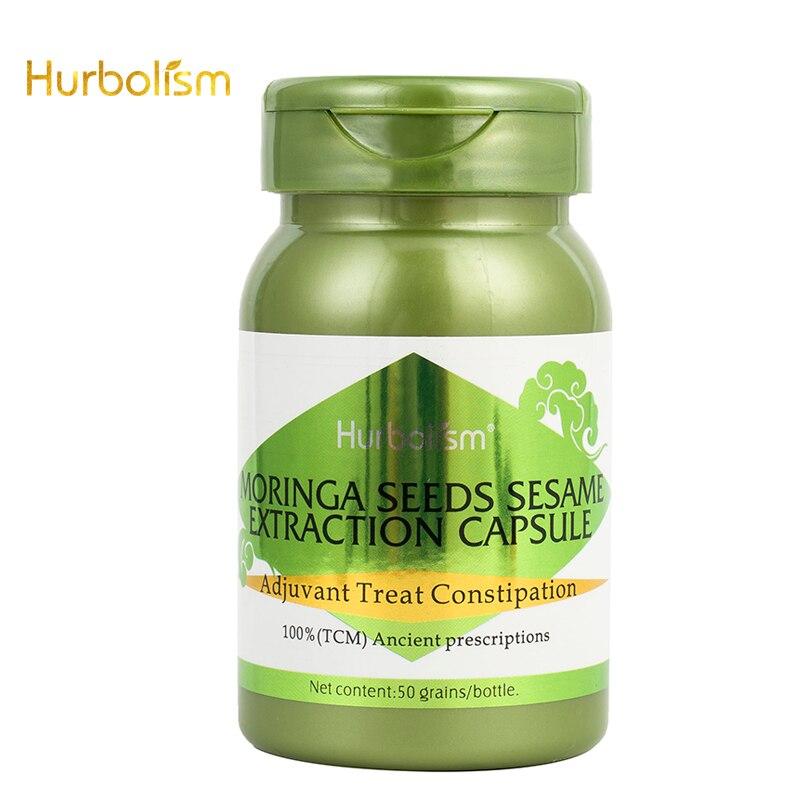 Cápsula de extracción de sésamo de semillas de Moringa de hurbolismo, constipación de tratamiento adyuvante, extracto de plantas naturales, sin efectos secundarios, 50 Uds.