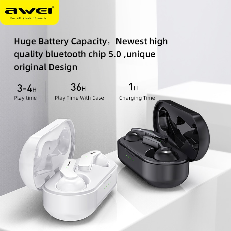 Awei TWS T10C V5.0 Touch Control Mini Wireless Bluetooth Earbuds HD Stereo Sound Noise Cancelling Wireless Charging For Gaming enlarge