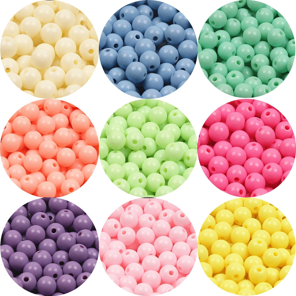 Candy Color Acrylic Round Beads 6-20mm Loose Balls Spacer Beads For Jewelry Making Diy Necklace Bracelet Handmade Accessories 6 14mm candy color ab acrylic round beads 20 300pcs loose spacer seed beads for jewelry making handmade diy bracelet necklace
