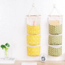 T2152 coton lin imperméable à leau sac de rangement suspendu multicouche suspendus couche Art porte après sac de stockage de débris