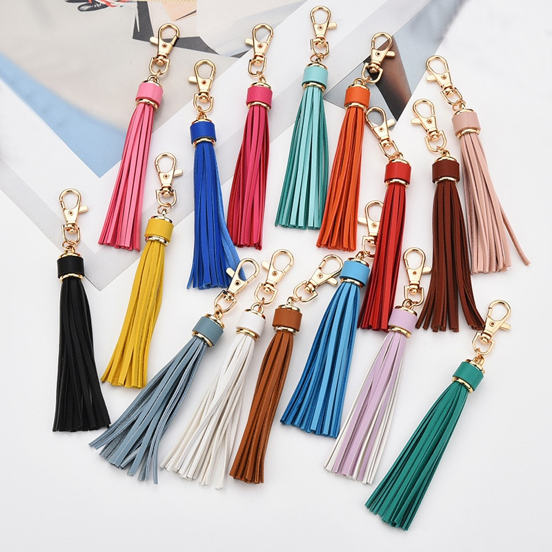 sitaicery 2pcs set pig cute keychain lovers pendant bag charm drive safe key chain for women jewelry female car key ring trinket Sitaicery New Fashion Tassel Key Chain Women Cute Tassel KeyChain Bag Accessory PU Leather Tassels Car Key Ring Fringe Jewelry