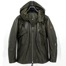Männer echtem schaffell lamm leder militär armee mantel jacke mit kapuze für männlichen frühjahr herbst herbst grün plus größe xxxxxl