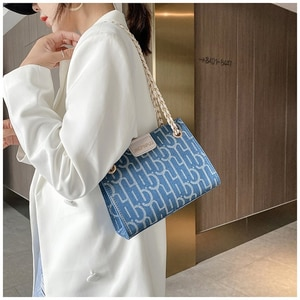 Charm Denim Canvas Grid Stripe Shoulder Bags For Women Large Capacity Shopping Crossbody Bags Female Blue Handbags Brand Design