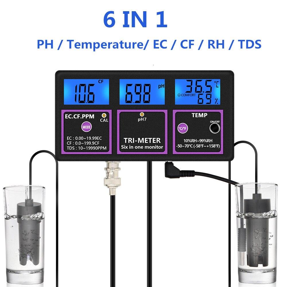 جهاز اختبار جودة المياه الرقمي متعدد المعلمات ، 6 في 1 ، PH ، درجة الحرارة ، EC ، CF ، RH ، TDS ، تخفيض 30%