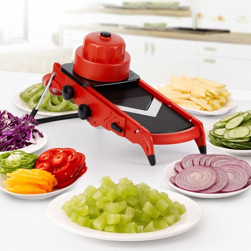 المطبخ الكل في 1 فولت شفرة قابل للتعديل آلة قطع ماندولين تقطيع الخضار و المروحية الجبن تقطيع الأحمر