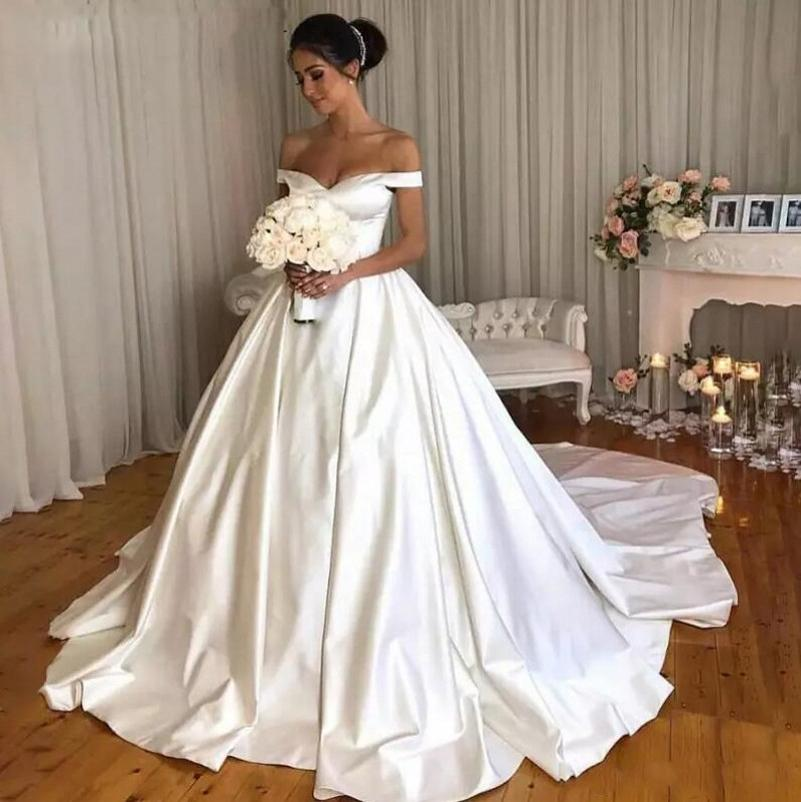 Vestido de novia de satén con hombros descubiertos, vestido de novia de...