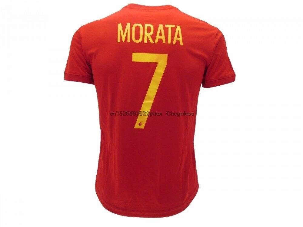 Camisa oficial espanha fulvia morata alvaro número 7 fúrias vermelho merchandising spai