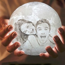 Customized 3D Print Moon Lamp 2/16 Colors  Change USB Rechargeable Night Light Touch/Remote Control