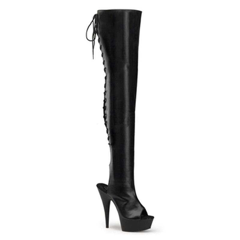 Botas de mujer design especial mulher botas de couro patente oco para fora do dedo do pé aberto cruz cinta plataforma sapatos verão vestido sapatos