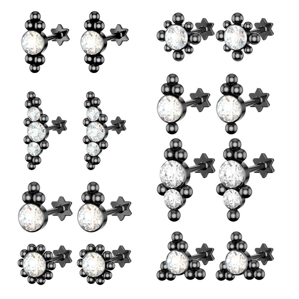 1 Pza acero cartílago tragus de La Oreja Piercing Helix Piercing 16G pendientes geométricos Orelha pendientes flor Piercing joyería Sexy