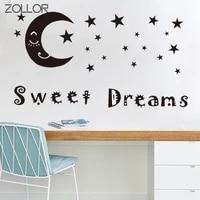 Zollor doux reves sourire lune autocollant decoratif pour la maison salon Art Mural stickers etanche PVC mur placard autocollant