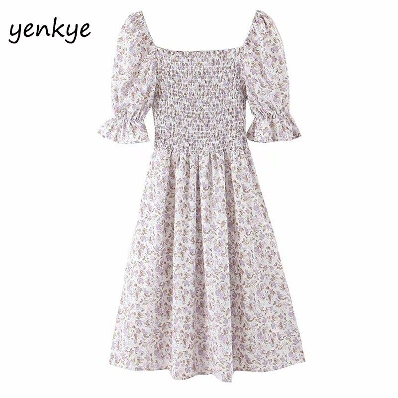Vestido de verão das mulheres doce floral impressão vestido de verão feminino quadrado pescoço manga curta a linha elegante chiffon vestido curto robe