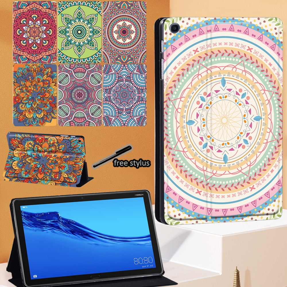 Tablet Case for Huawei MediaPad T5 10 10.1 Inch/M5 10.8 Inch Mandala Pattern Leather Folio Stand Cover