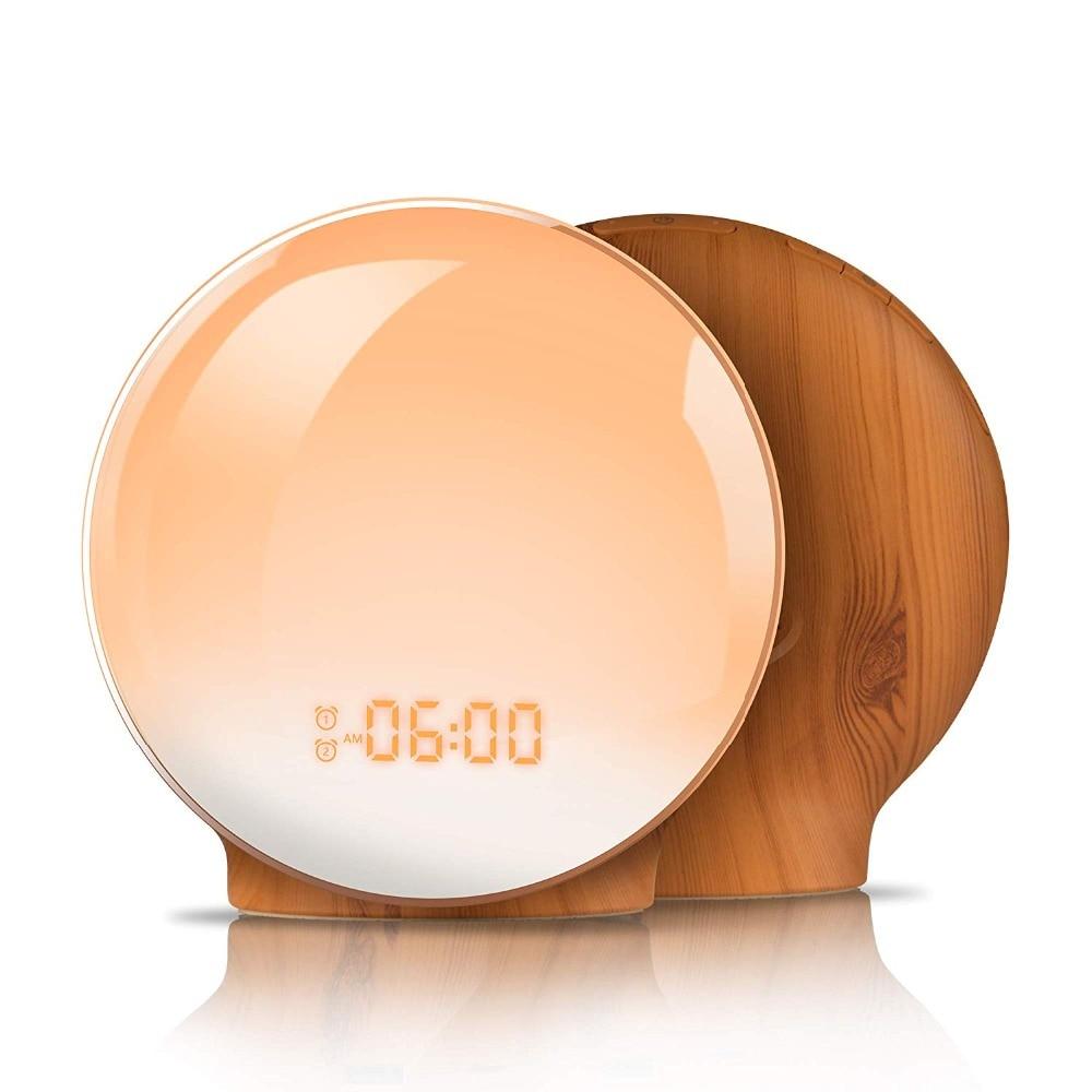 SUN Alarm Clock Wake Up Light Digital Snooze Nature Night Lamp Clock Sunrise Colorful Light With Nature Sounds FM Radios