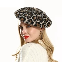 new hat women autumn and winter mink beret fashion leopard painter hat beret hat winter hat peaky blinders boina get together