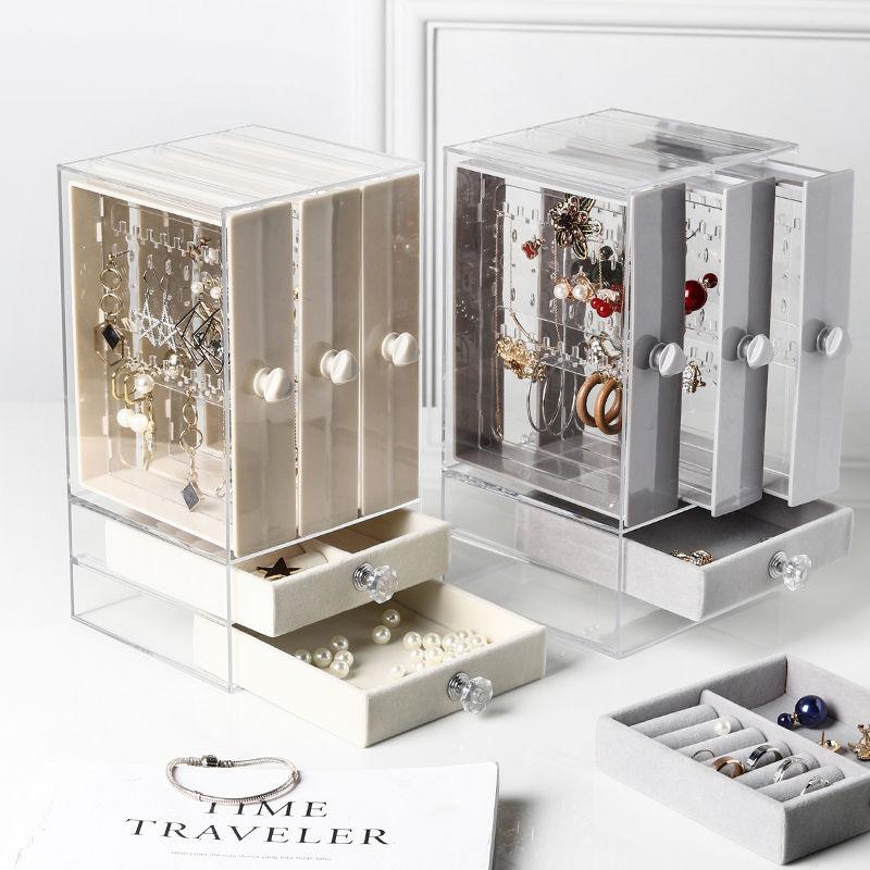 متعددة الوظائف القرط صندوق تخزين الأقراط الإناث أقراط عرض موقف قلادة اليد مجوهرات نمط صندوق تخزين المجوهرات