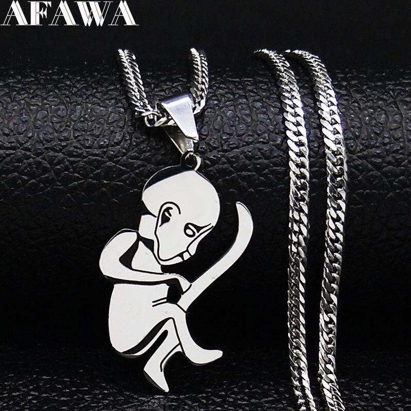 Cordão umbilical bebê colar de aço inoxidável mulher cor prata pequenos colares jewerly colgantes presente do dia dos pais n1954s01