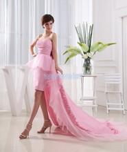 Envío Gratis 2018 tafetán arco nuevo diseño novias maid corto largo tren vestidos formales sexy Rosa vestidos de graduación y damas de honor