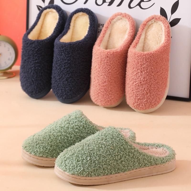 New Velvet Thermal Couples Home Cotton Shoes Indoor Soft Bottom Warm Flat Non-slip Furry Slides Plis