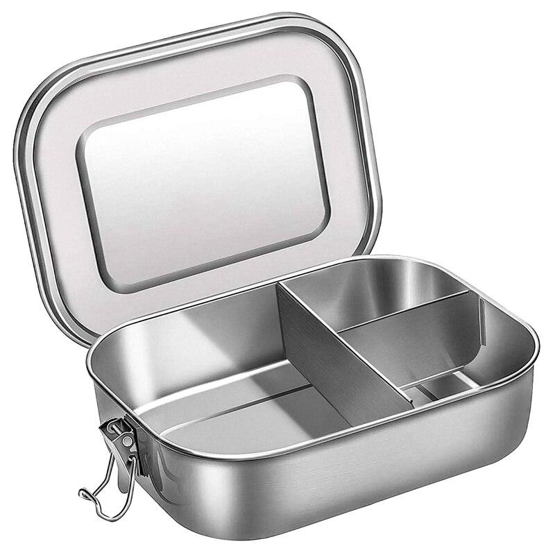 صندوق بينتو ستانلس ستيل حاوية لحفظ طعام الغذاء ، 3-مقصورة بينتو علب الاغذية للشطائر وجانبين ، 1400 مللي حاوية طعام لكي