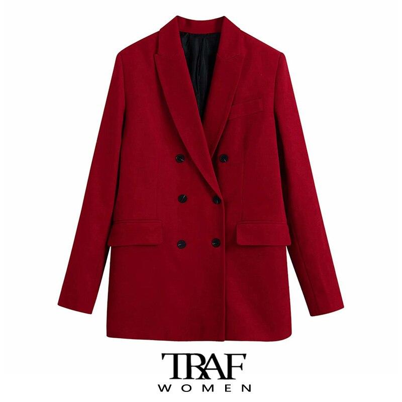سترة عصرية للنساء من TRAF Za مزدوجة الصدر سترة معطف عتيق بأكمام طويلة وجيوب واسعة ملابس خارجية نسائية أنيقة