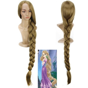 Anime 120CM Long Braiding Princess Tangled Rapunzel Hair Blonde Cosplay Wig Anime Costume Party Synthetic Wigs for Women Girls