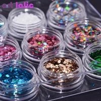 12 boxset round nail glitter 3d ultra thin sequins flakes sparkly diy tips dazzling paillette nail art decorations