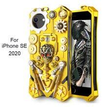 Coque en métal SE2 pour iPhone SE 2020 Coque rétro mécanique Steampunk SE 2 Coque antichoc pour iPhone SE 2020 étui Funda