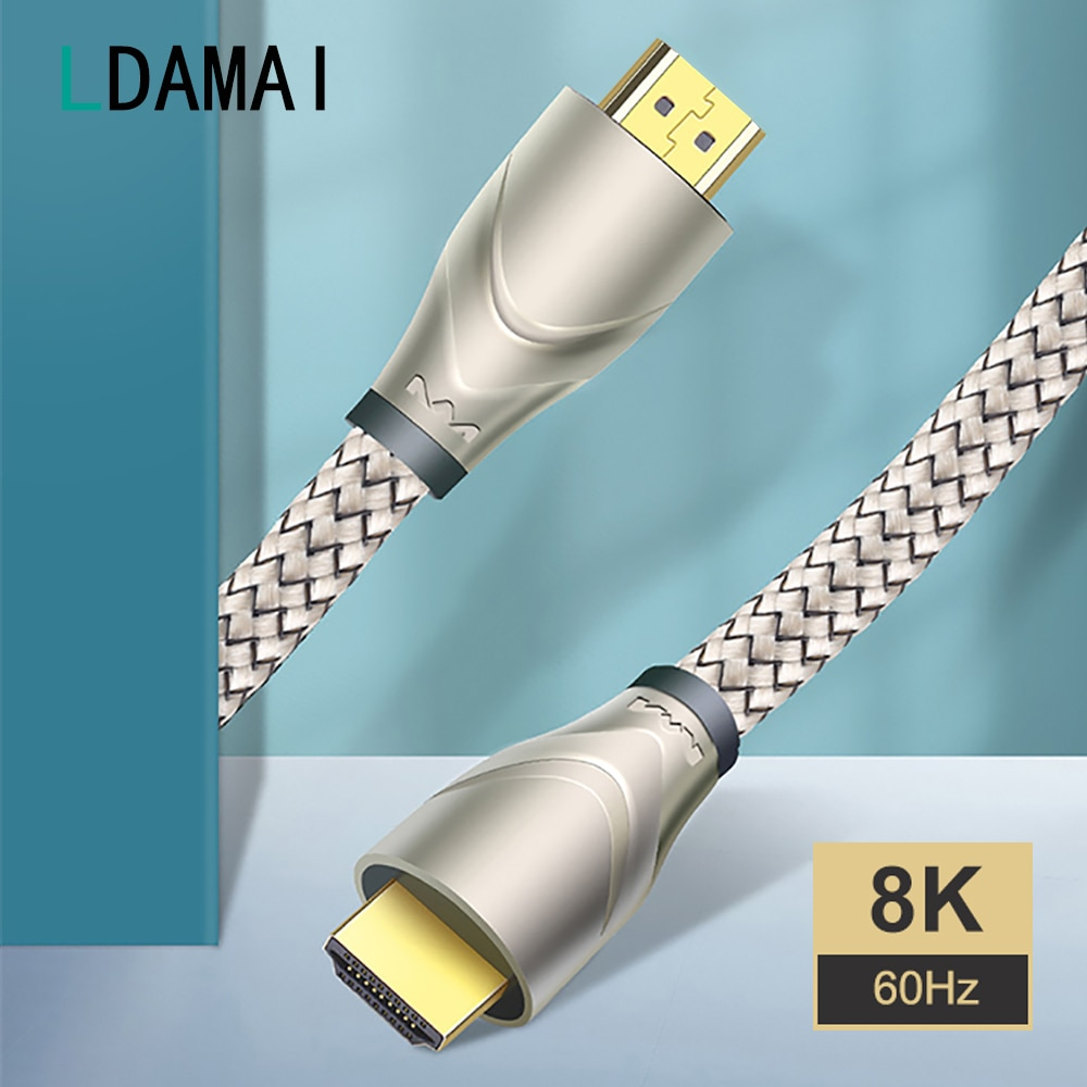 كابل تلفزيون رقمي متوافق مع HDMI 2.1 ، كابل ذكر إلى ذكر لـ Xiaomi Mi Box ، سلك كابل تلفزيون 8K/60Hz 4K/120Hz 48Gbps