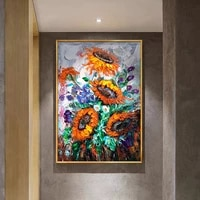 Affiche sur toile peinte a la main avec tournesol  Art moderne abstrait aquarelle  peinture murale  decoration de salon de maison nordique