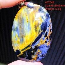 Genuine Natural Blue Pietersite Chatoyant Pendant From Namibia Women Men Cat Eye Jewelry Yellow Piet
