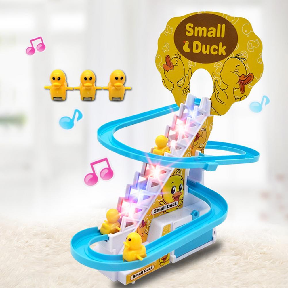 Новая игрушка-трек для подъема по лестнице для детей, Классические Мультяшные утки, американские горки, набор игрушек, электрический музыка...