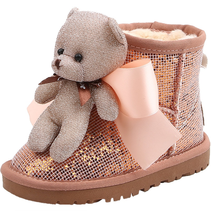 new-girls-princess-boots-fashion-winter-fur-kids-snow-shoes-for-baby-boots-cute-bear-bling-children-ankle-boots-short-shoes-warm