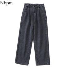 Nbpm New 2021 Fashion Loose Bottom Jeans Woman High Waist Baggy Jeans Boyfriend Jeans For Women Stre