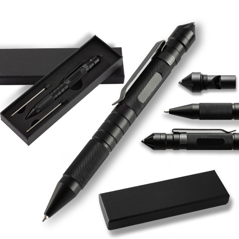 Multifunctional Tactical Pen With Tungsten Steel Head Survival Whistle Defense Pen Outdoor Survival Writing Tactical Pen недорого