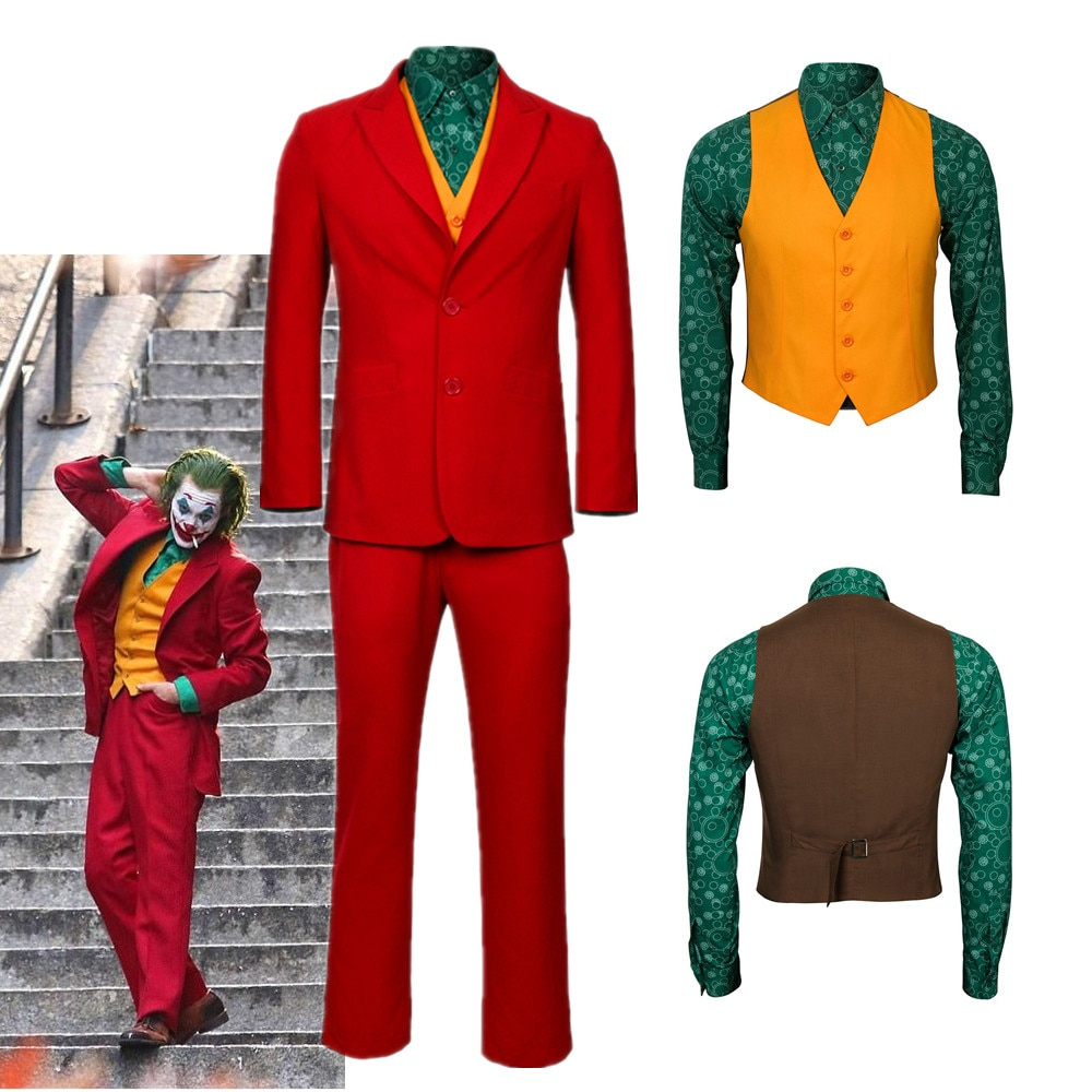 جوكر المنشأ الفيلم تأثيري جواكين فينيكس آرثر فليك زي الجوكر الزي الأحمر البدلة هالوين الرجال الزي