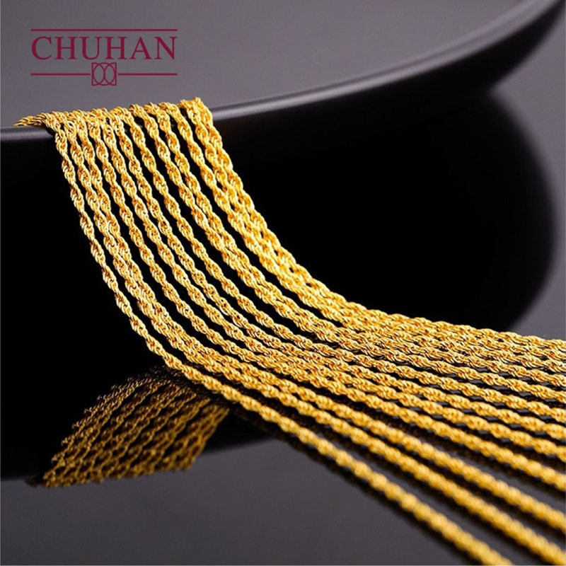 Promo CHUHAN Jewelry 18k Gold Twisted chain AU750 Real Gold Hemp rope Necklace Fashion All-match models Fine Jewelry accessories