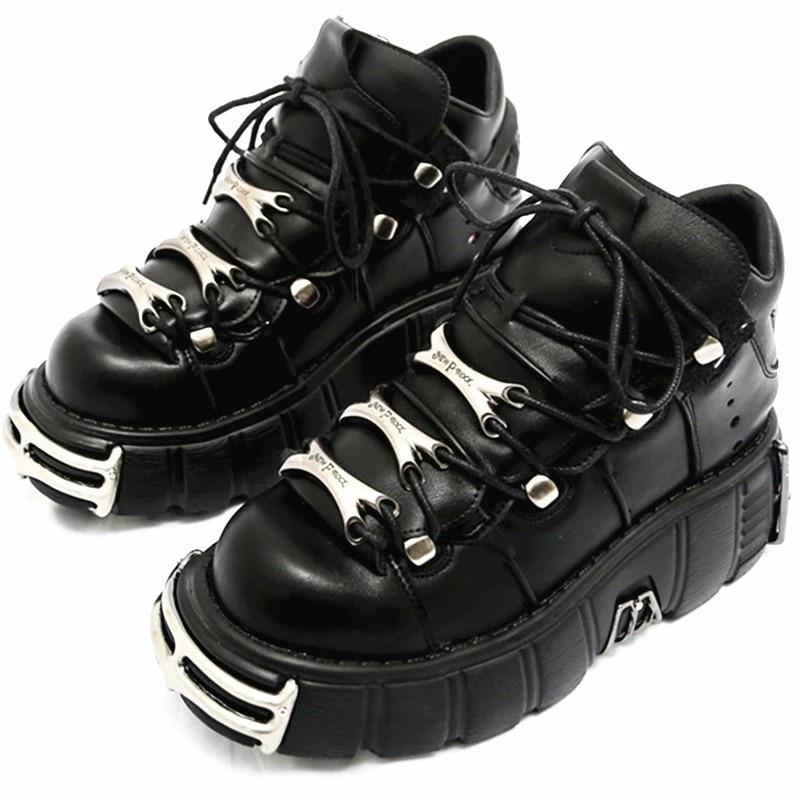 Кроссовки женские в стиле панк, на шнуровке, платформа 6 см, криперы, повседневная обувь на плоской подошве, теннисная обувь, Новинка