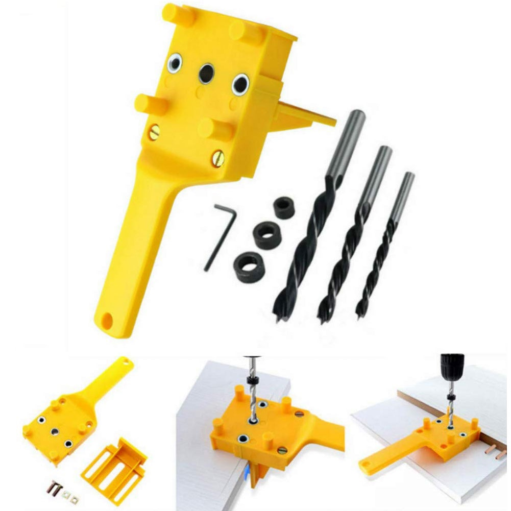 Wood Doweling Jig Plastic Handheld Pocket Hole Jig System 6/8/10mm Drill Bit Hole Puncher For Carpentry Dowel Joints Dowel Jig  - buy with discount