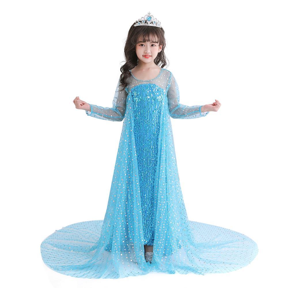 Nuevo Elsa Vestido de manga larga traje de la Reina de la...