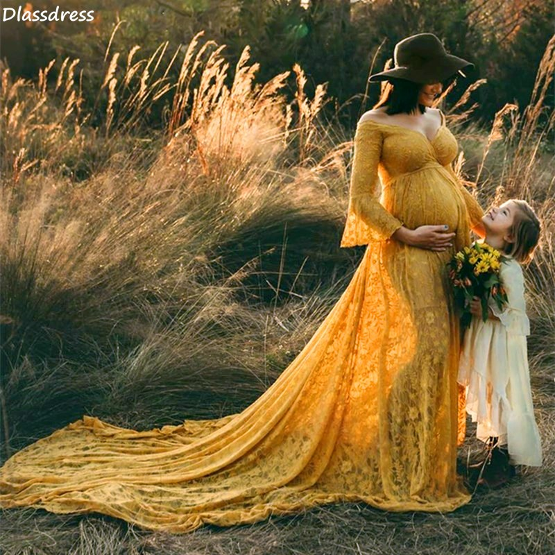 2021 Yellow Lace Prom Dress Pregnant Photography Sweep Train Long Sleeve V-neck Illusion Evening Dress свадебное платье vestidos