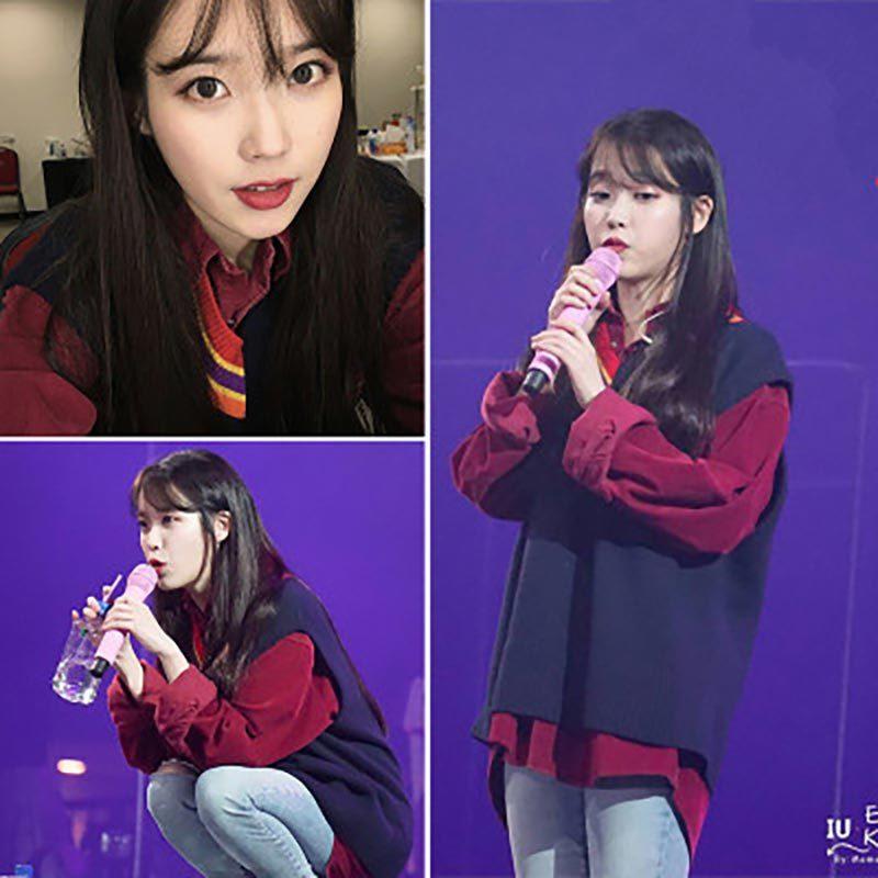 2 uds conjunto Kpop UI Lee Ji Eun Chaleco de pana manga larga camisa Oversize de las mujeres Top blusa nueva