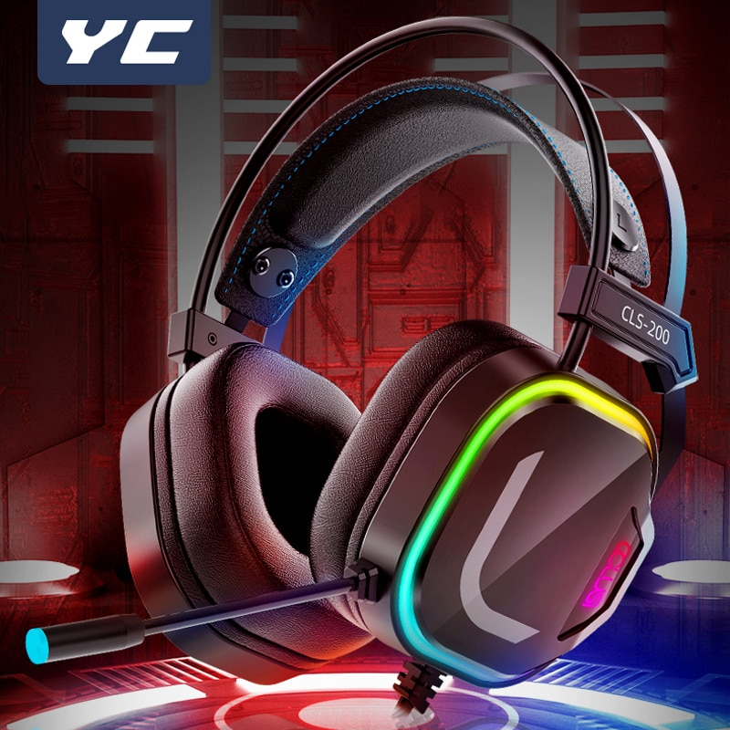 YC Gaming Headset Gamer 7.1 Surround Sound USB 3.5mm Wired RGB Light Game Headphones with Microphone for Tablet PC PS4 Xbox One недорого