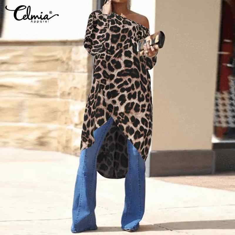 Celmia Frauen Asymmetrische Tunika Tops Sexy Off Schulter Leopard Print Lange Blusen Damen Casual Shirts Plus Größe Blusas Femme Blusen Hemden Aliexpress