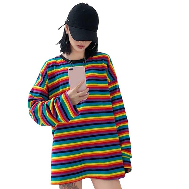 Camiseta de rayas arcoíris primavera otoño Harajuku camisa femenina de manga larga Camisetas de talla grande para mujer Camisetas coreanas sueltas nueva llegada