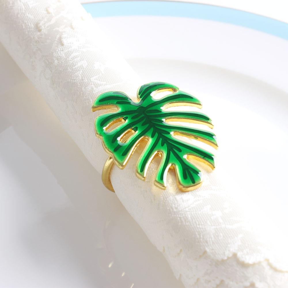 10 pçs/lote venda quente guardanapo anel de metal verde tartaruga folha guardanapo fivela natal festa casamento guardanapo círculo decoração do desktop